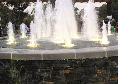 Chapman Plaza fountain with cascade jets & LED lights.