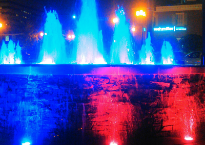 At night, the Chapman Plaza fountain lights up and changes colors.