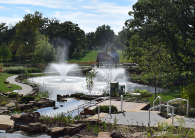 Floating fountains keep the reflecting pond healthy and provide a scenic view