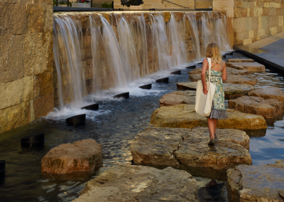 Limestone walking stones in the Split Basin invite visitors to step towards the waterfall.