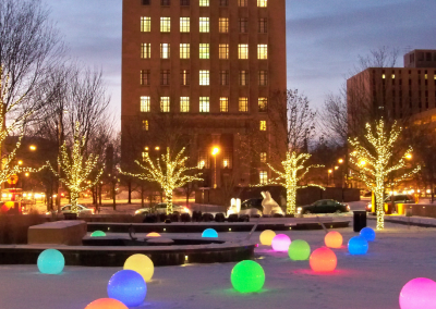 LED lighted balls add interest to the splashpad area during the winter months.