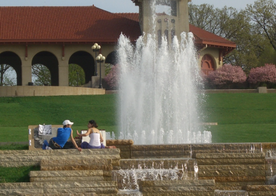 Government Hill's colorfully lit fountain and reflecting pool were originally built in 1930.
