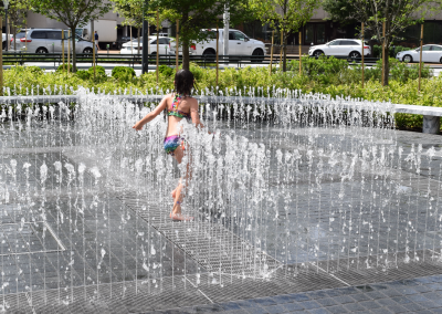 Chidren are often seen playing in the interactive splash pad which features hundreds of nozzles.