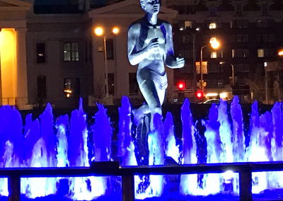 During the St. Louis Blues' journey to the Stanley Cup in 2019, the fountain lights stayed blue.