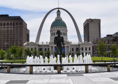 The fountain at Keiner Plaza is an iconic part of Downtown St. Louis