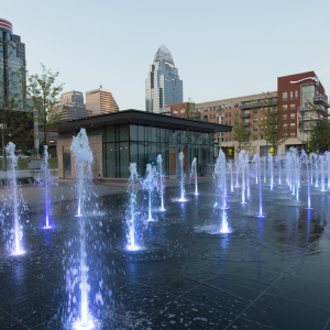 Smale interactive fountain splash pad
