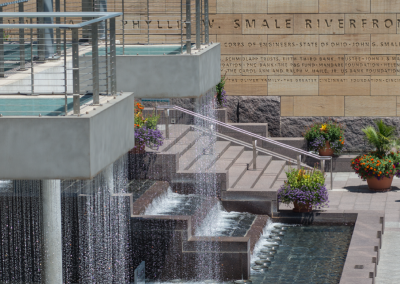 The Smale Riverfront Park serves as a connection point between the Great American Ballpark and Paul Brown Stadium.