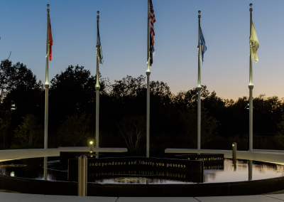The fountain at dusk is a solemn tribute to our service men and women.