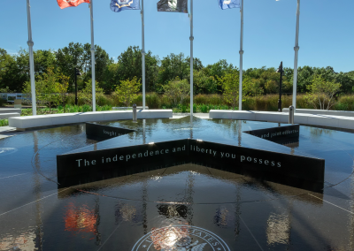 This fountain and memorial were created to honor Veterans of the United States Armed Forces; past, present, and future.