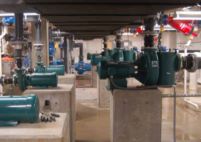 fountain pumps are elevated off the ground for safety and any flooding issues
