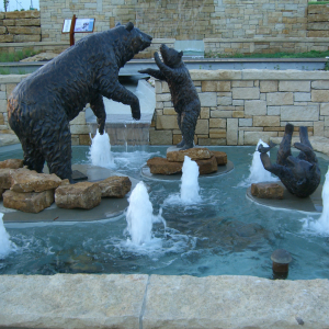 Bronze bear family fountain